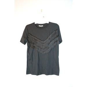 NWT Zara Size S Black Fringe Top